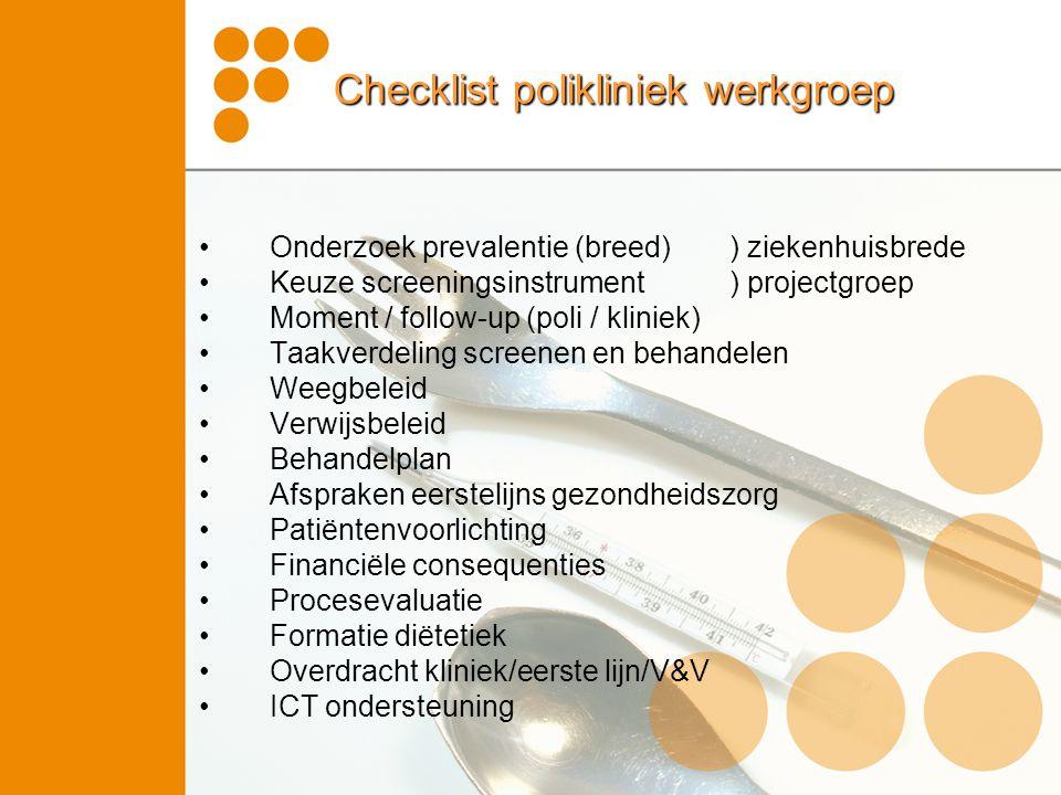 Checklist polikliniek werkgroep