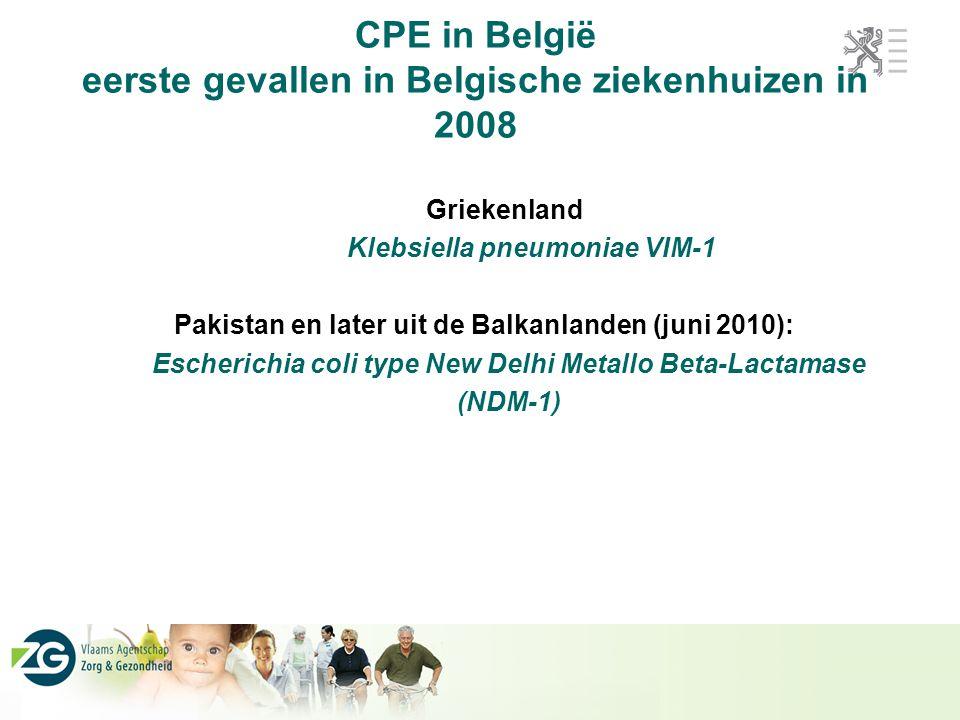 CPE in België eerste gevallen in Belgische ziekenhuizen in 2008
