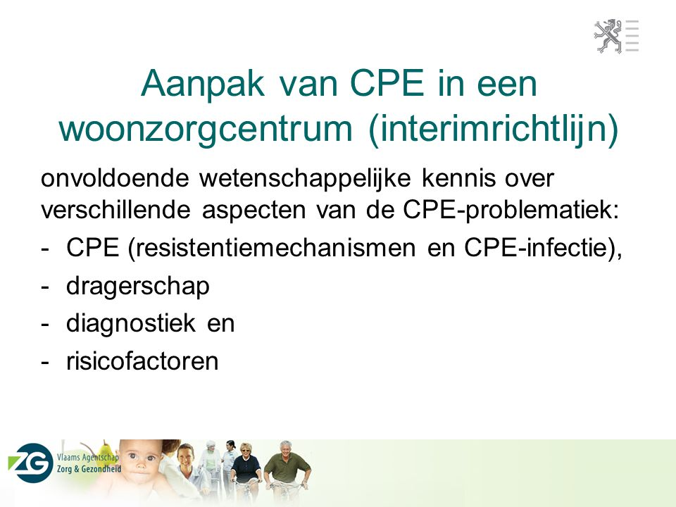 Aanpak van CPE in een woonzorgcentrum (interimrichtlijn)