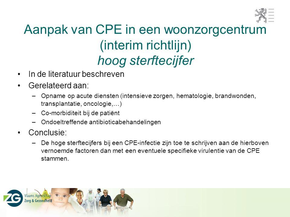 Aanpak van CPE in een woonzorgcentrum (interim richtlijn) hoog sterftecijfer