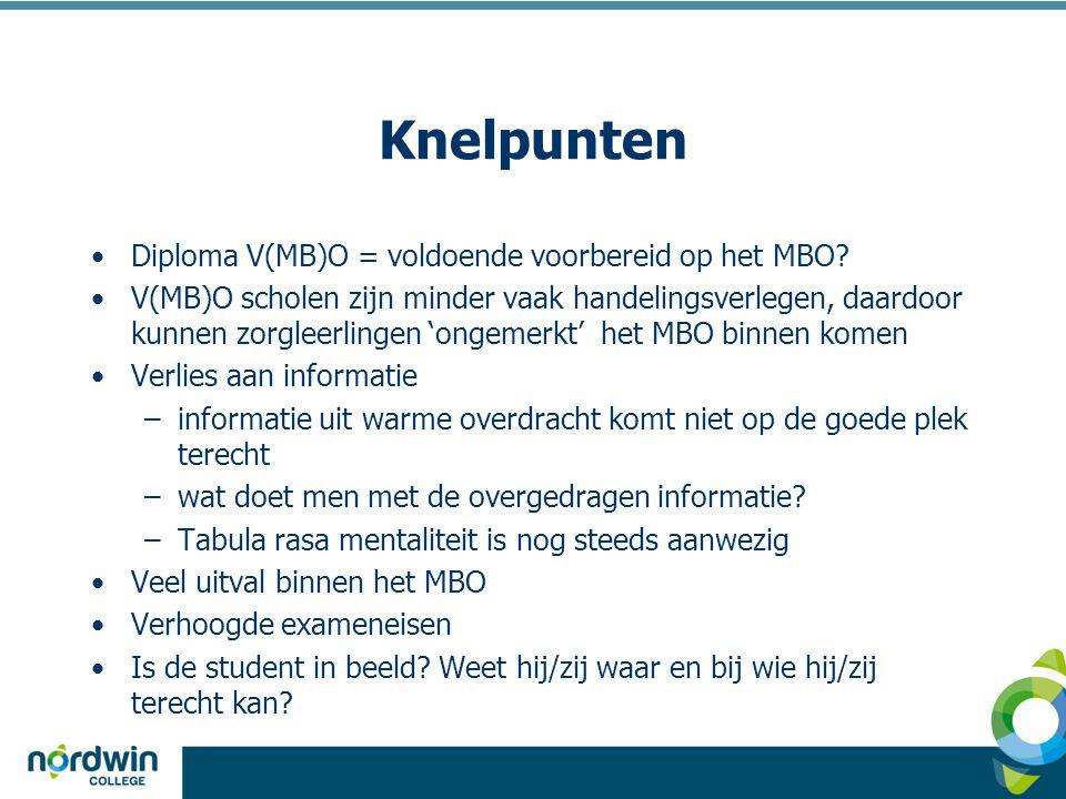Knelpunten Diploma V(MB)O = voldoende voorbereid op het MBO