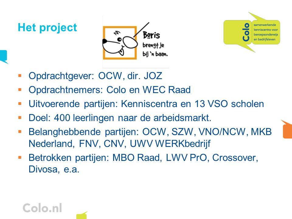 Het project Opdrachtgever: OCW, dir. JOZ