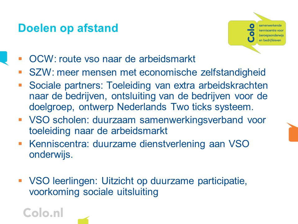 Doelen op afstand OCW: route vso naar de arbeidsmarkt