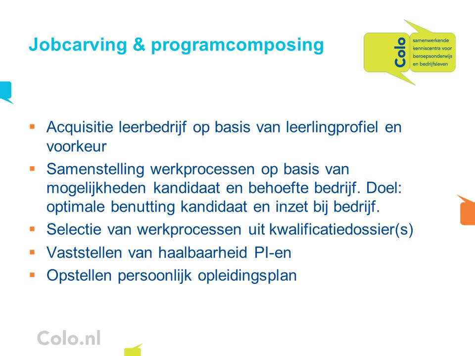 Jobcarving & programcomposing