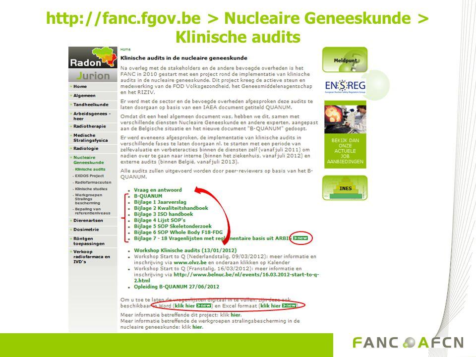 http://fanc.fgov.be > Nucleaire Geneeskunde > Klinische audits