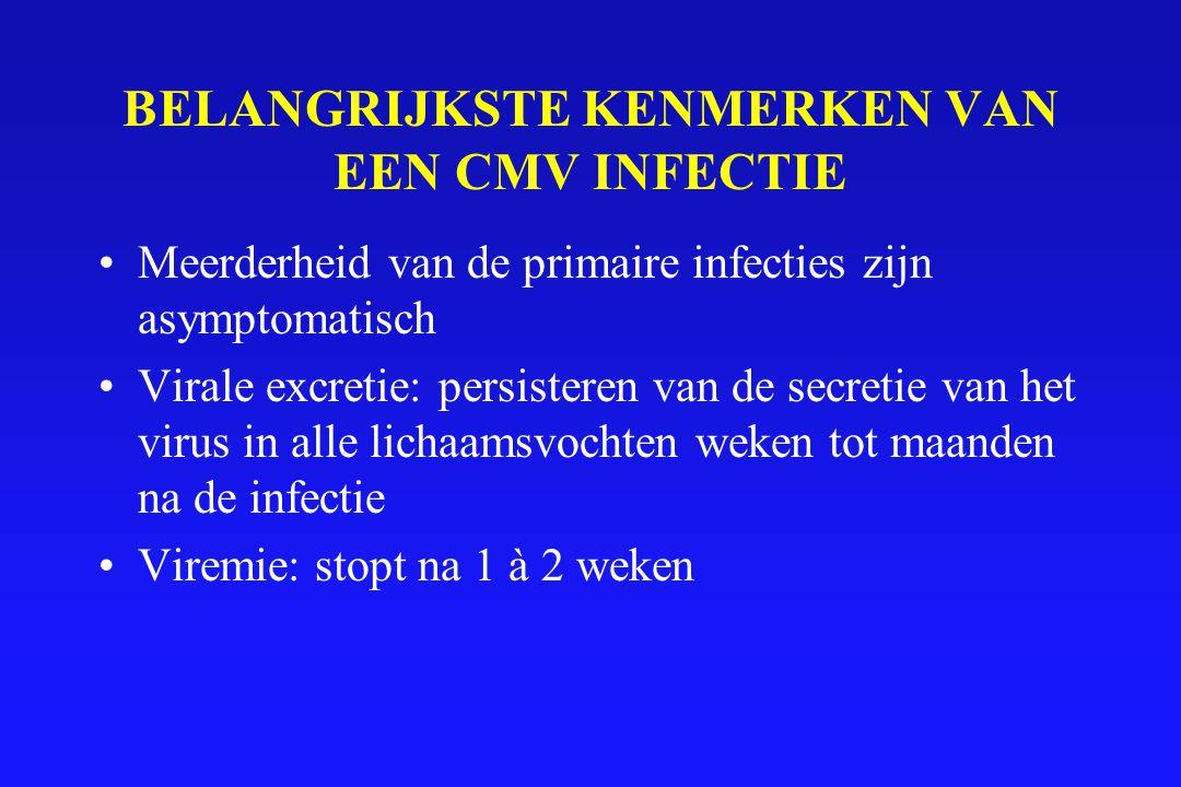 BELANGRIJKSTE KENMERKEN VAN EEN CMV INFECTIE