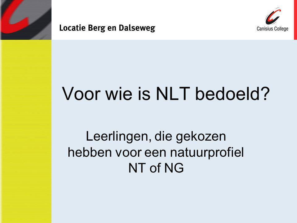 Leerlingen, die gekozen hebben voor een natuurprofiel NT of NG