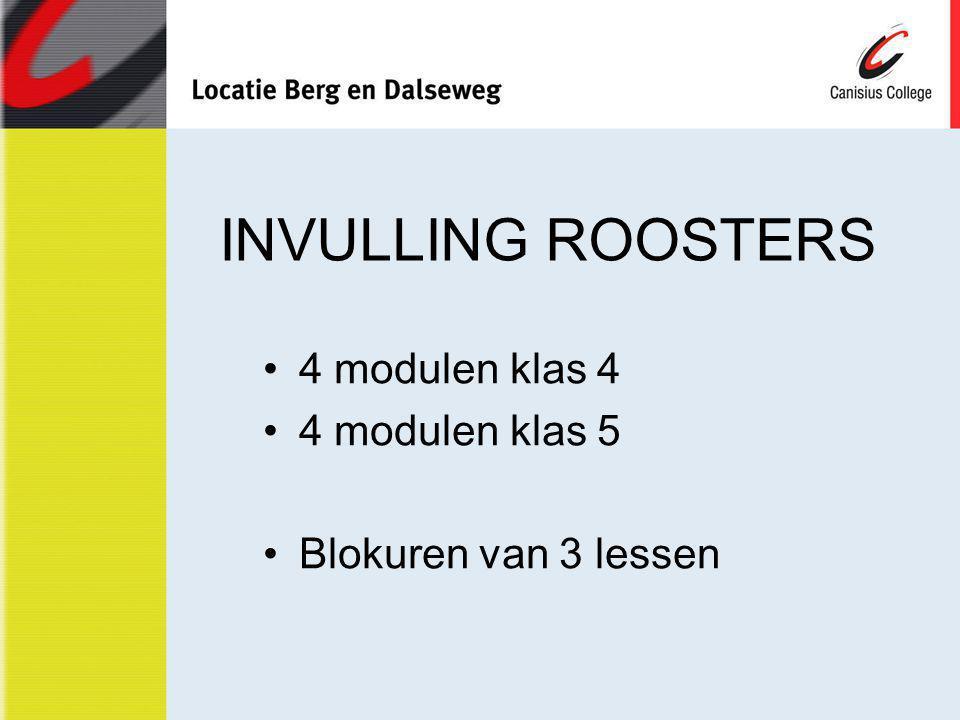 INVULLING ROOSTERS 4 modulen klas 4 4 modulen klas 5