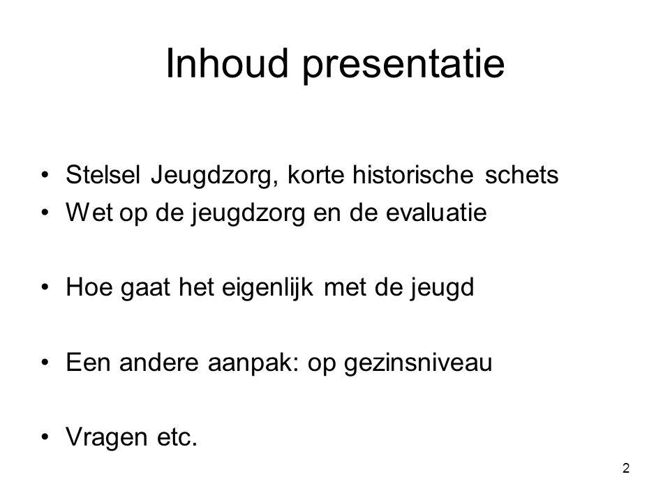 Inhoud presentatie Stelsel Jeugdzorg, korte historische schets