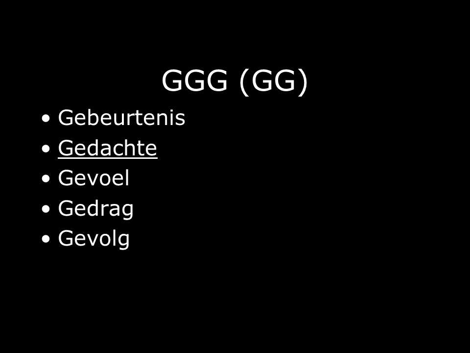 GGG (GG) Gebeurtenis Gedachte Gevoel Gedrag Gevolg