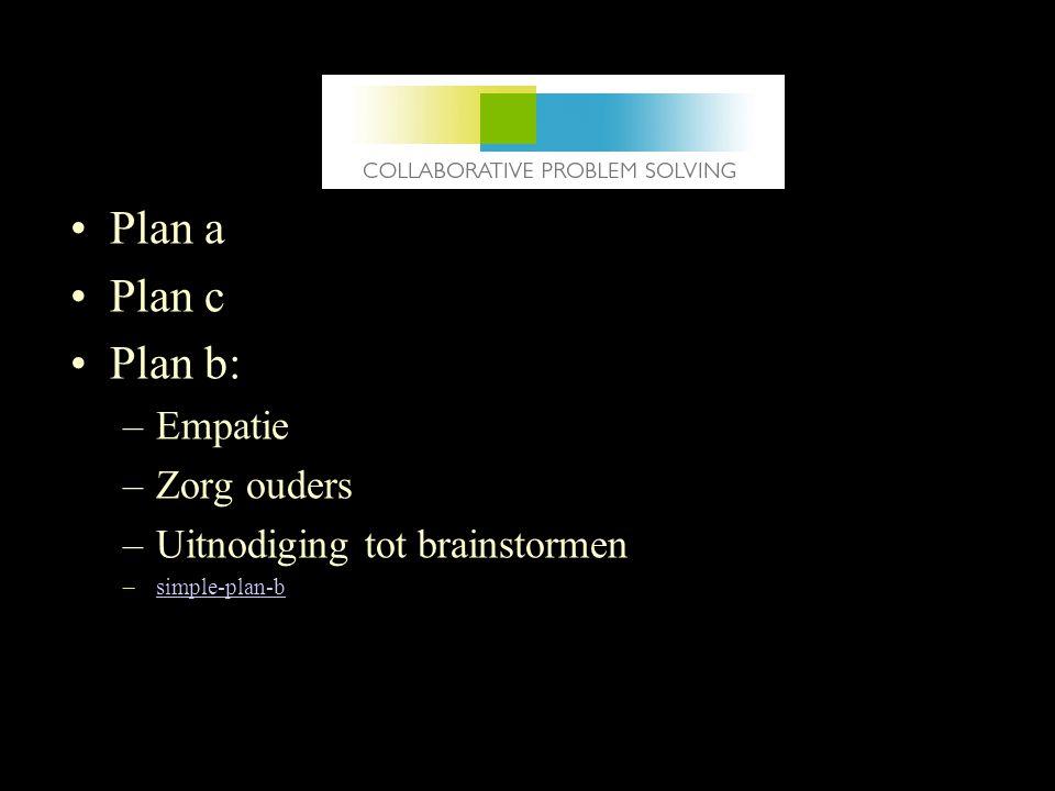 Plan a Plan c Plan b: Empatie Zorg ouders Uitnodiging tot brainstormen