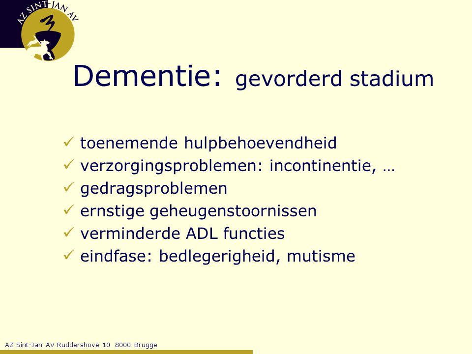 Dementie: gevorderd stadium
