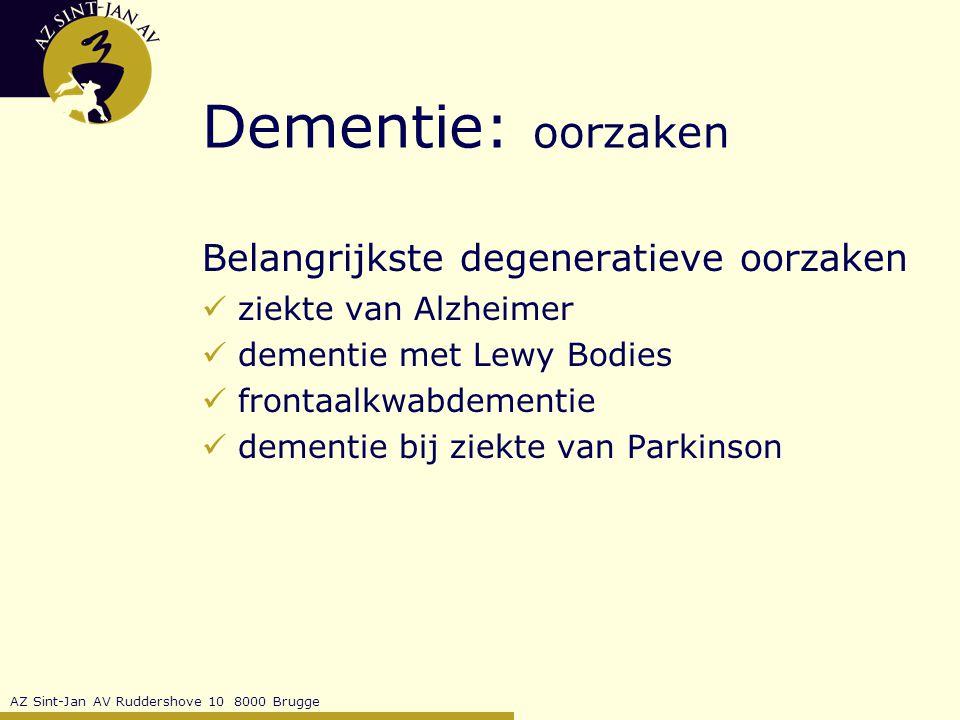 Dementie: oorzaken Belangrijkste degeneratieve oorzaken