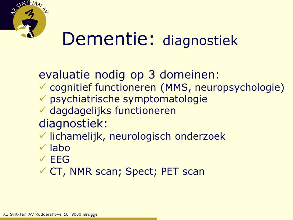 Dementie: diagnostiek
