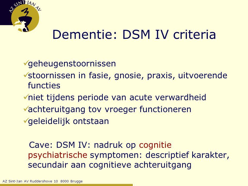 Dementie: DSM IV criteria
