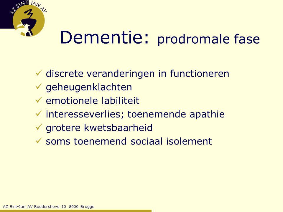 Dementie: prodromale fase