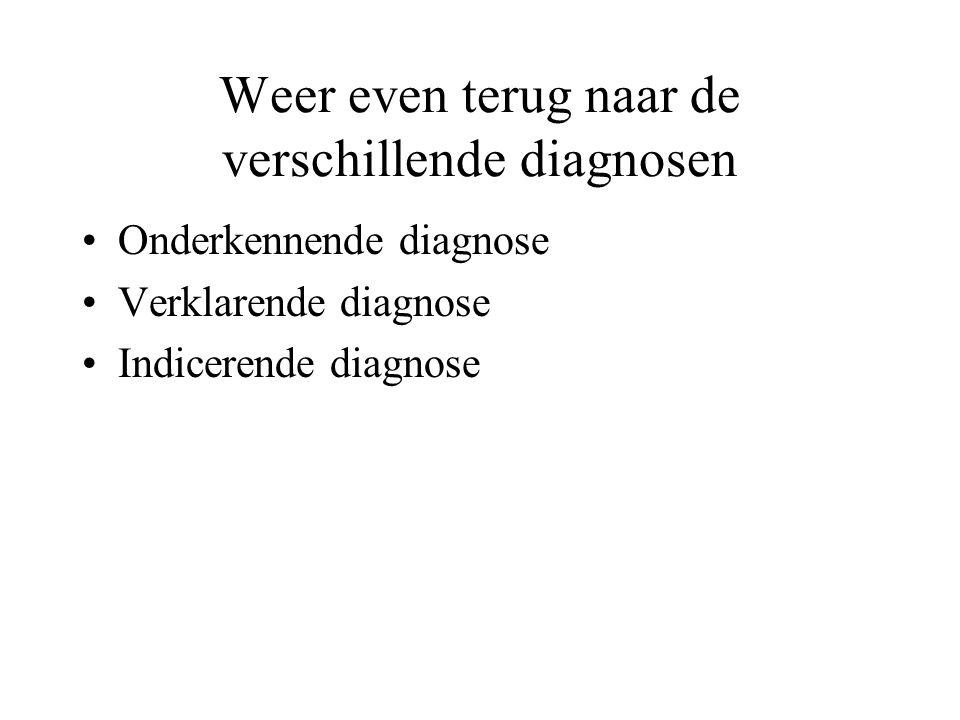 Weer even terug naar de verschillende diagnosen