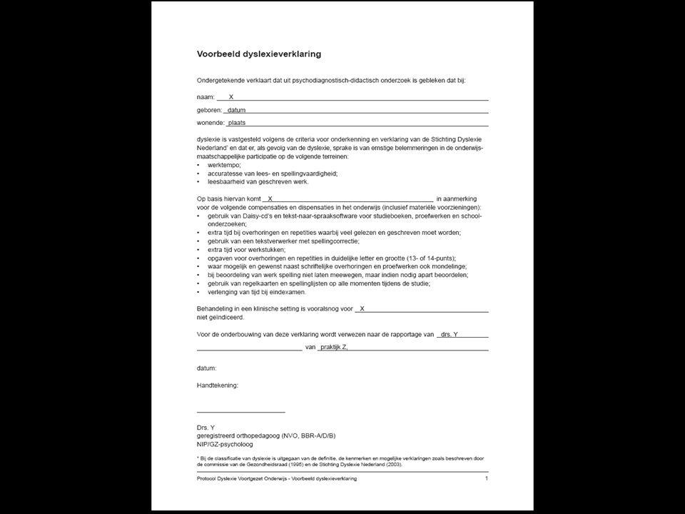 Voorbeeld dyslexieverklaring (Protocol Dyslexie Voortgezet Onderwijs – Bijlage 14)