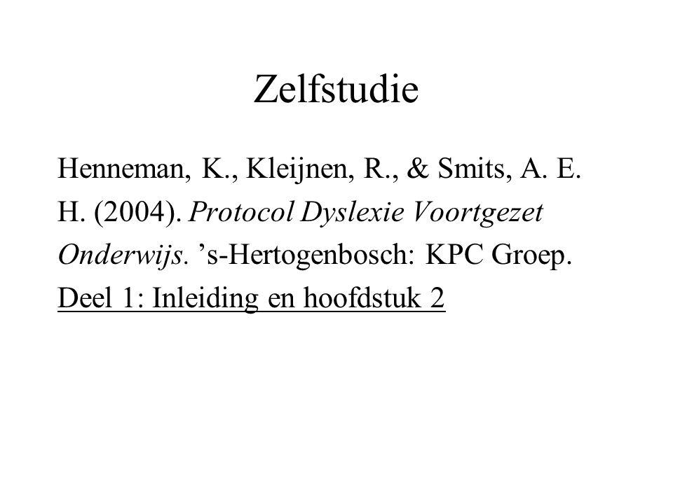 Zelfstudie Henneman, K., Kleijnen, R., & Smits, A. E.