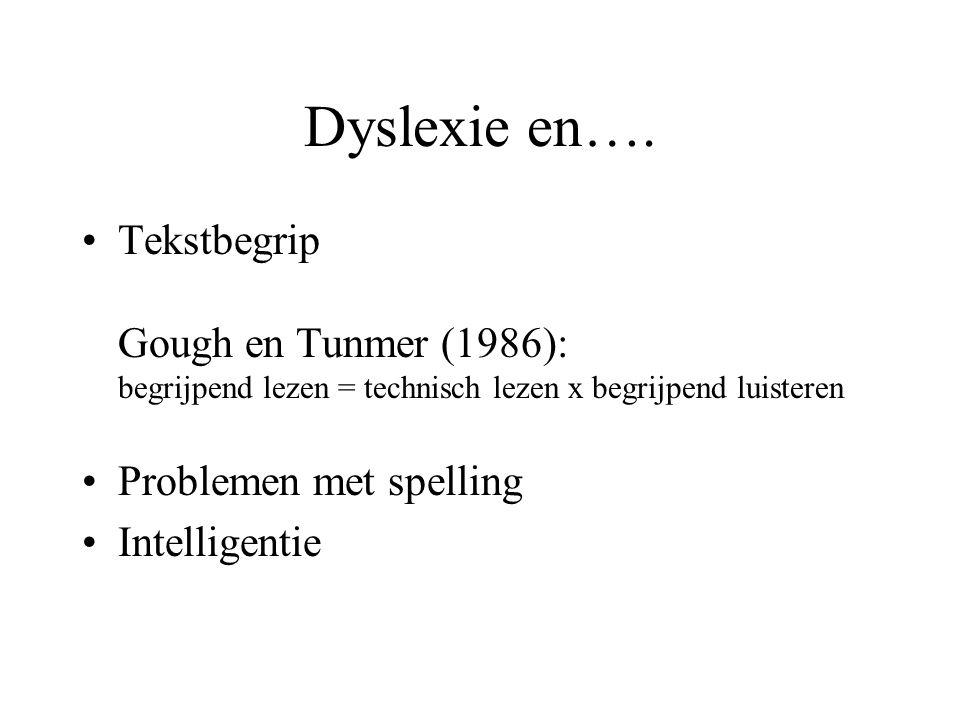 Dyslexie en…. Tekstbegrip Gough en Tunmer (1986): begrijpend lezen = technisch lezen x begrijpend luisteren.