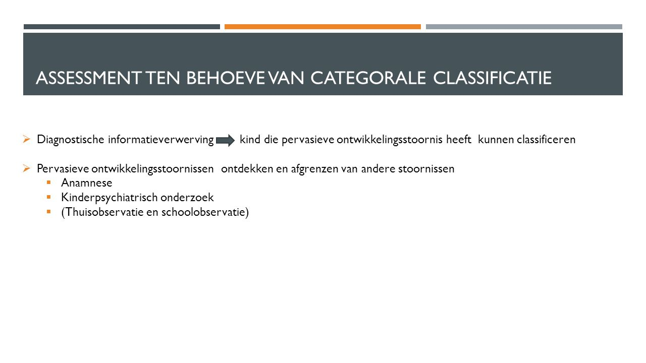 Assessment ten behoeve van categorale classificatie