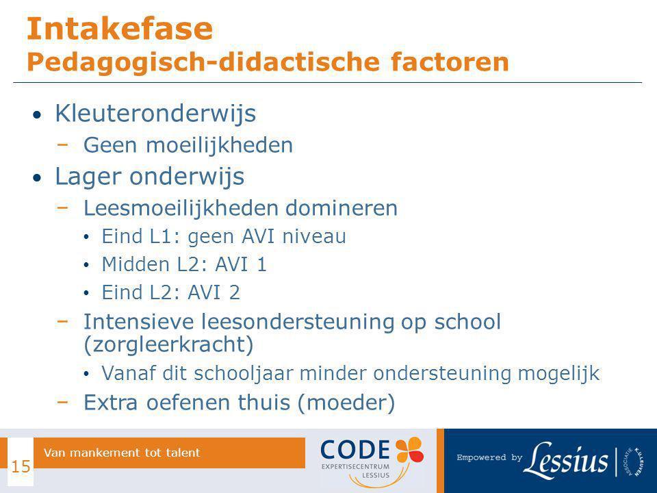 Intakefase Pedagogisch-didactische factoren