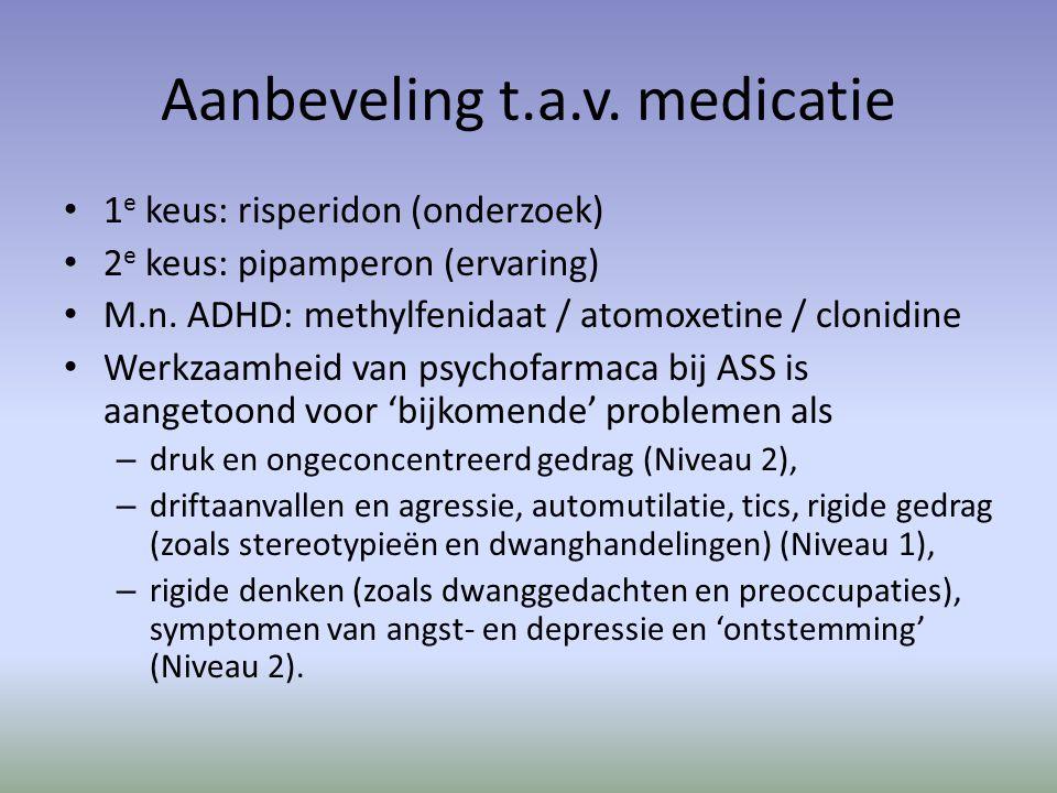 Aanbeveling t.a.v. medicatie