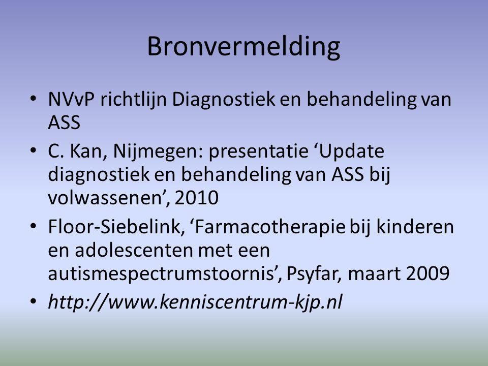 Bronvermelding NVvP richtlijn Diagnostiek en behandeling van ASS