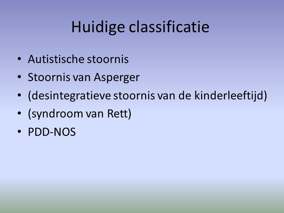 Huidige classificatie