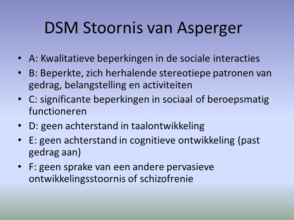 DSM Stoornis van Asperger