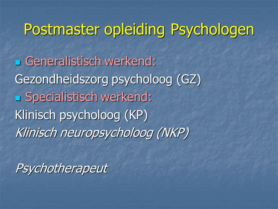 Postmaster opleiding Psychologen