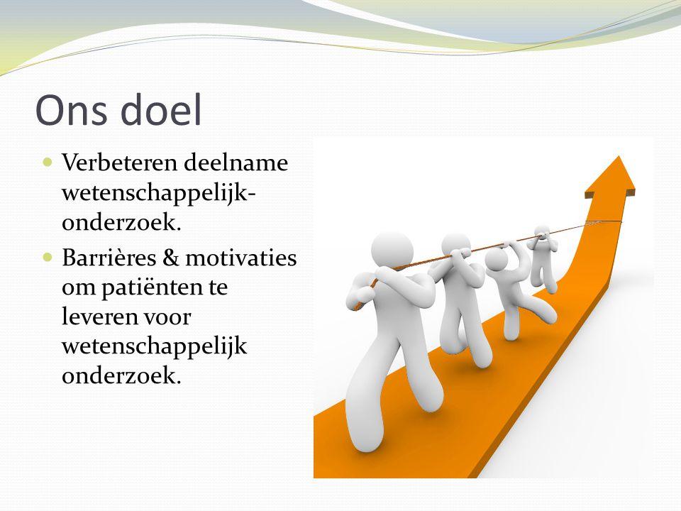 Ons doel Verbeteren deelname wetenschappelijk- onderzoek.