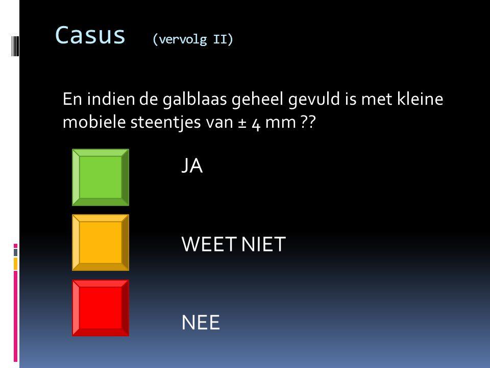 Casus (vervolg II) JA WEET NIET NEE