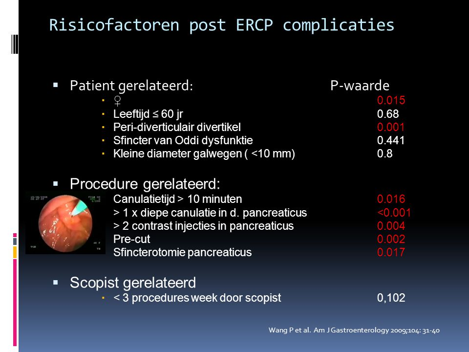Risicofactoren post ERCP complicaties