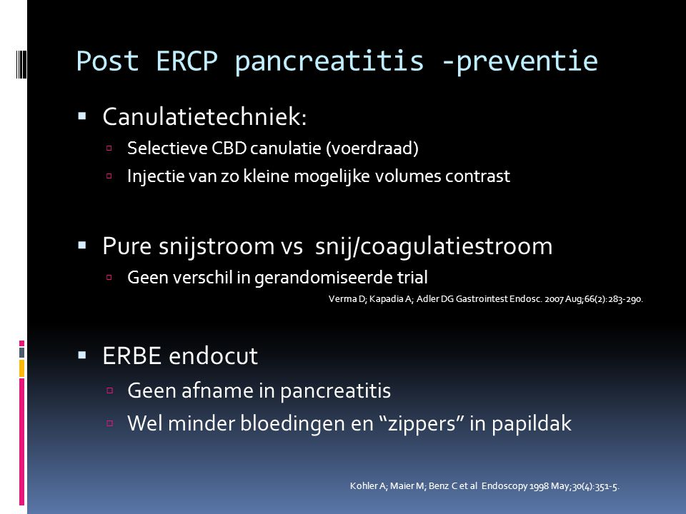 Post ERCP pancreatitis -preventie