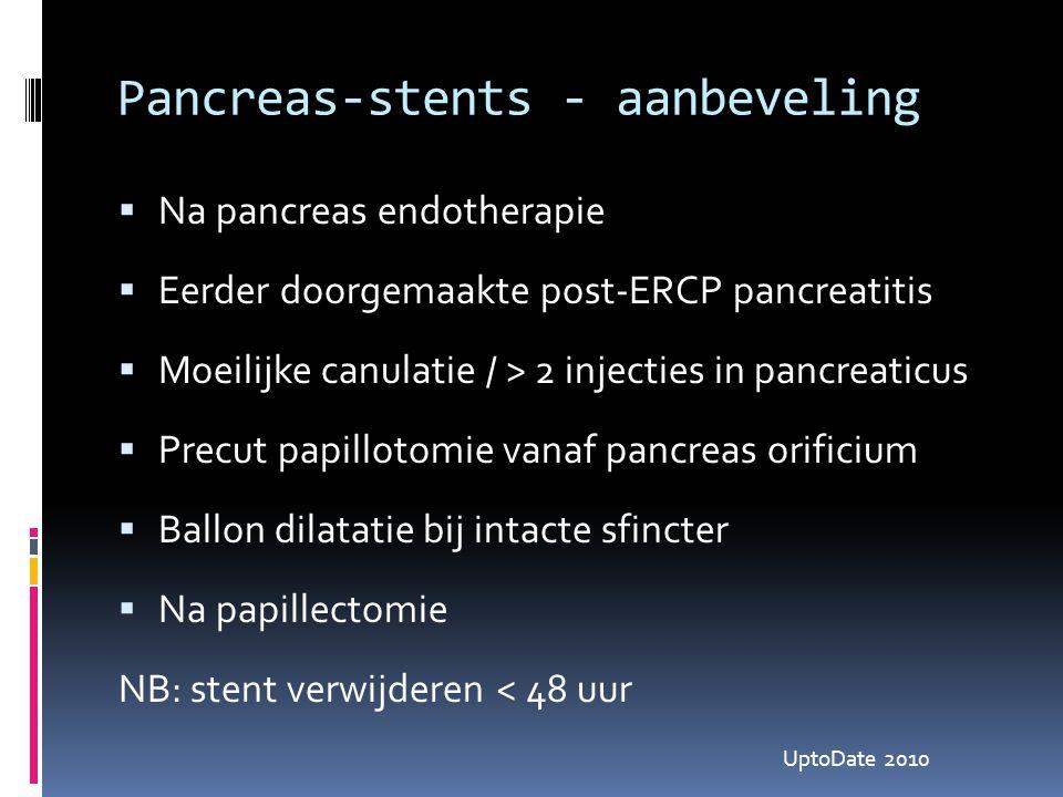 Pancreas-stents - aanbeveling