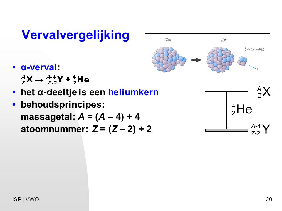 Vervalvergelijking X He Y • α-verval: