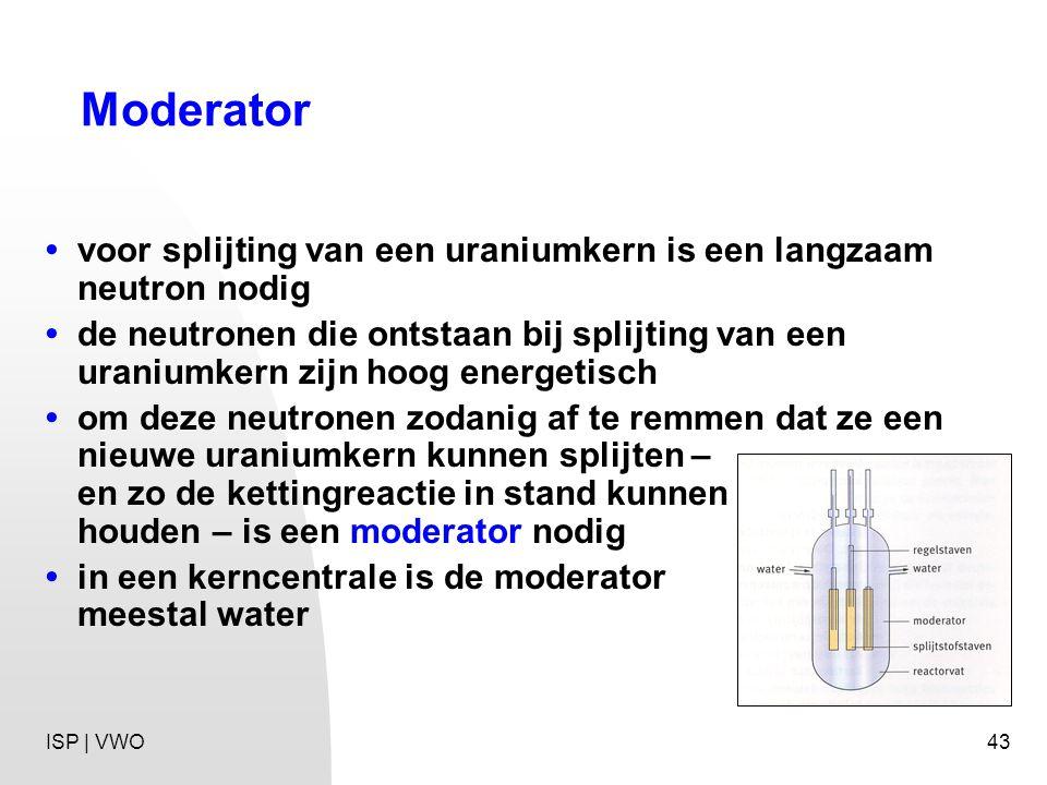 Moderator • voor splijting van een uraniumkern is een langzaam neutron nodig.