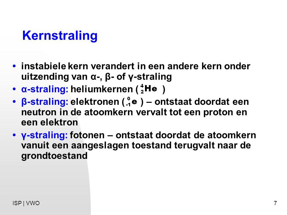 Kernstraling • instabiele kern verandert in een andere kern onder uitzending van α-, β- of γ-straling.