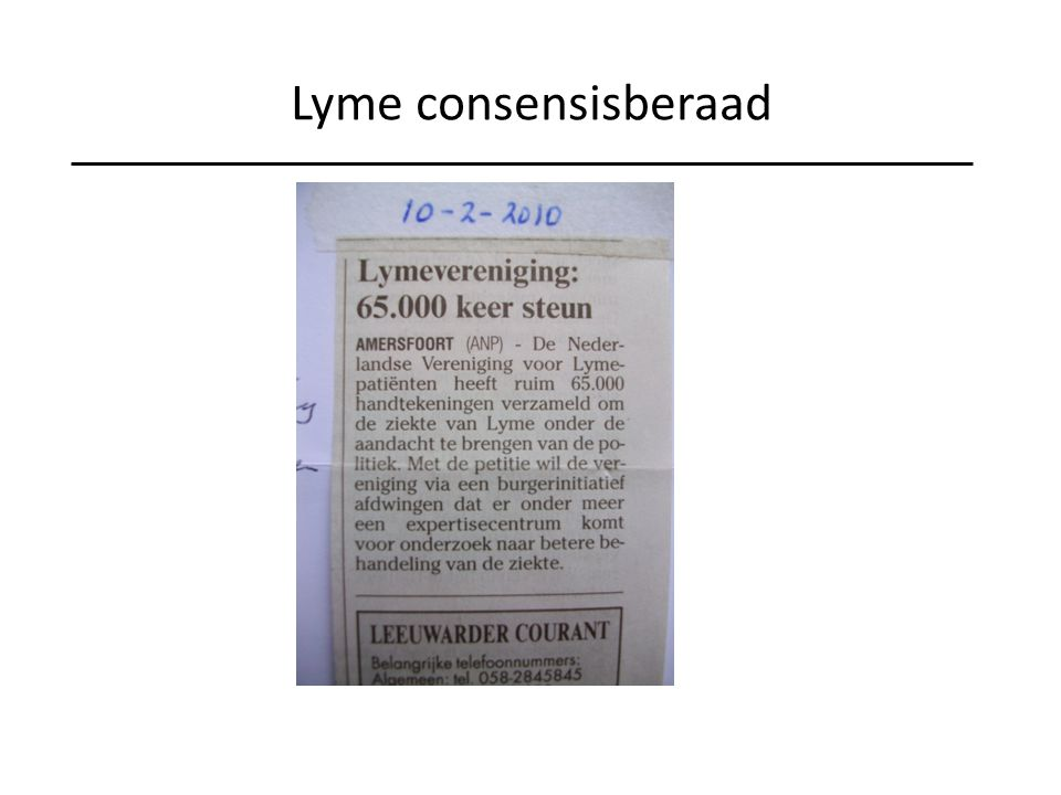 Lyme consensisberaad Burgerinitiatief: 65.000 handtekeningen aangeboden aan de minister. Meer aandacht voor lyme diagnostiek en behandeling.