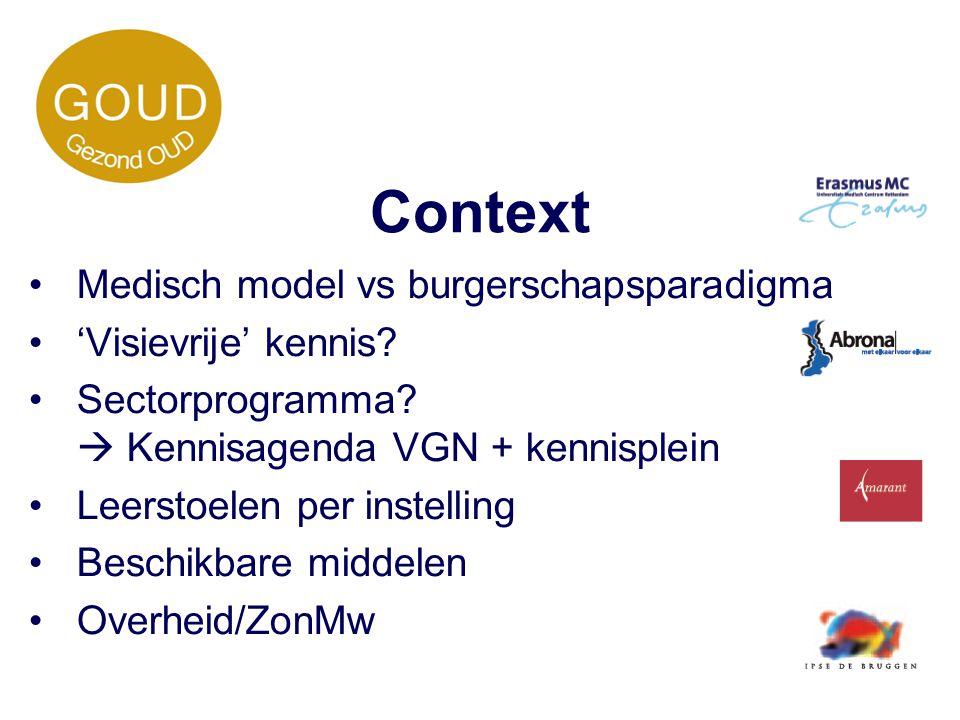 Context Medisch model vs burgerschapsparadigma 'Visievrije' kennis
