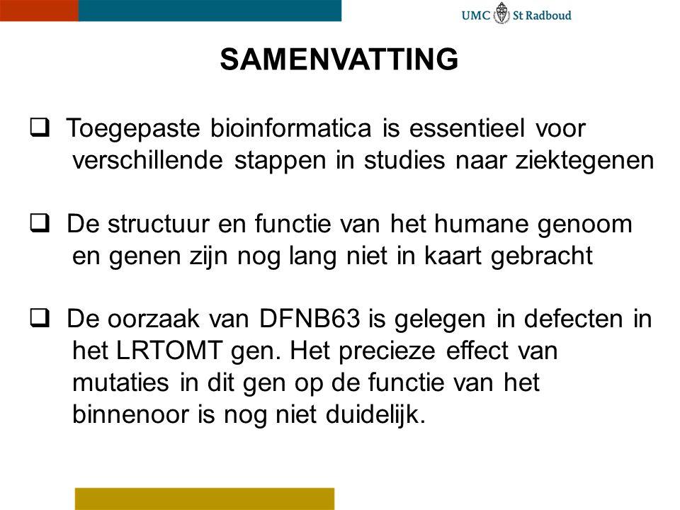 SAMENVATTING Toegepaste bioinformatica is essentieel voor