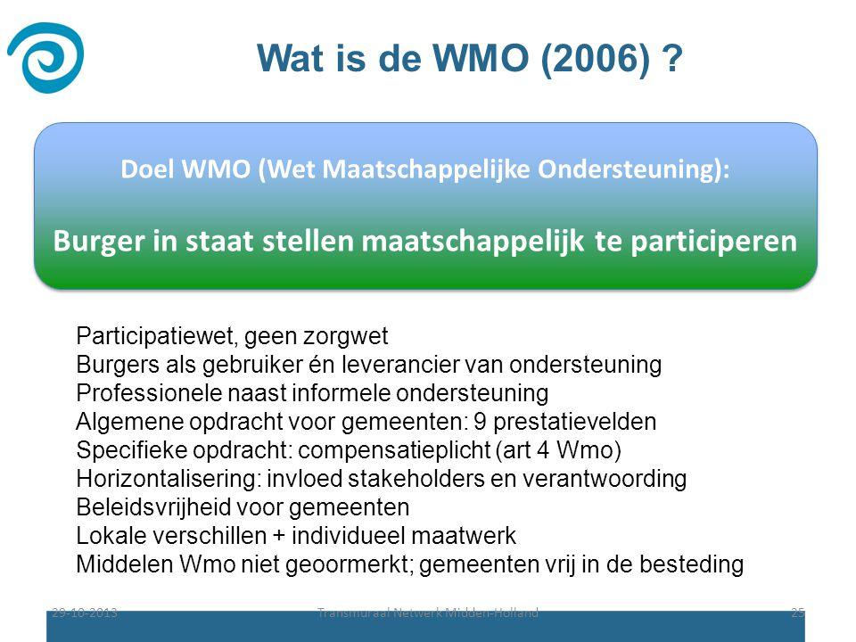 Wat is de WMO (2006) Doel WMO (Wet Maatschappelijke Ondersteuning): Burger in staat stellen maatschappelijk te participeren.