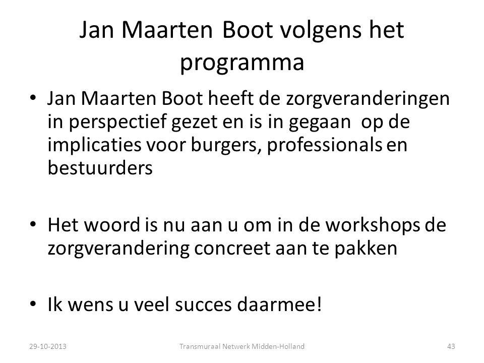 Jan Maarten Boot volgens het programma
