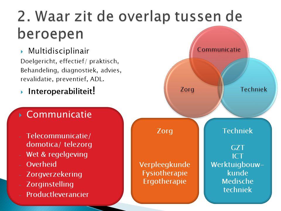 2. Waar zit de overlap tussen de beroepen