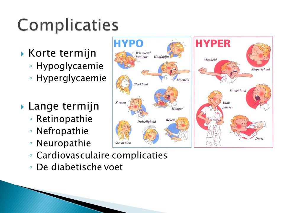 Complicaties Korte termijn Lange termijn Hypoglycaemie Hyperglycaemie