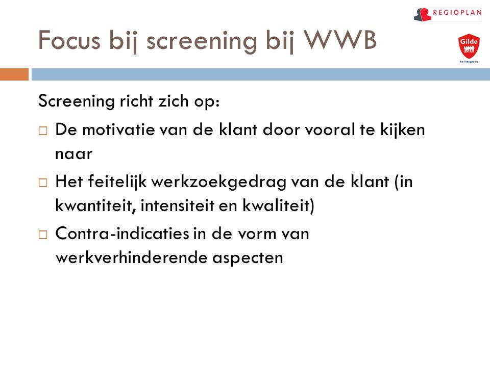 Focus bij screening bij WWB