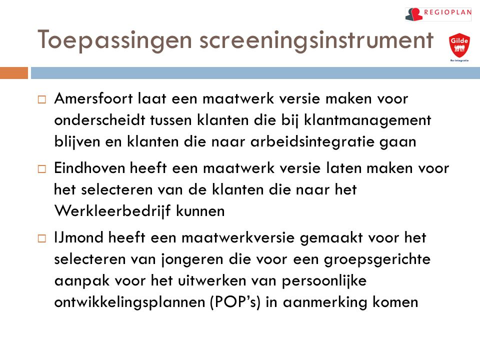 Toepassingen screeningsinstrument
