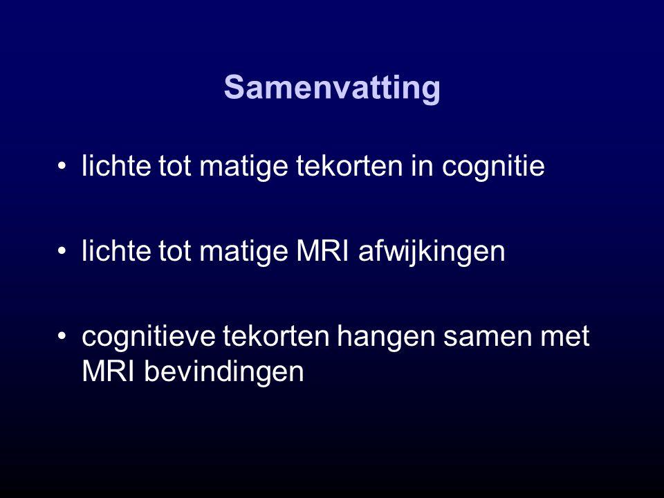 Samenvatting lichte tot matige tekorten in cognitie