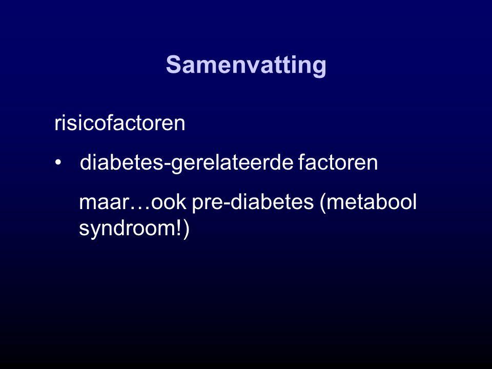 Samenvatting risicofactoren diabetes-gerelateerde factoren